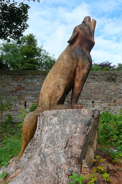 Bespoke hand carved wood wolf sculpture