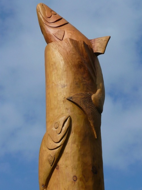 Hand carved wooden fish totem pole by Robin Wood