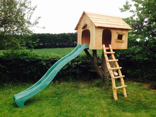 childrens play tree house with slide bespoke wildchild designs