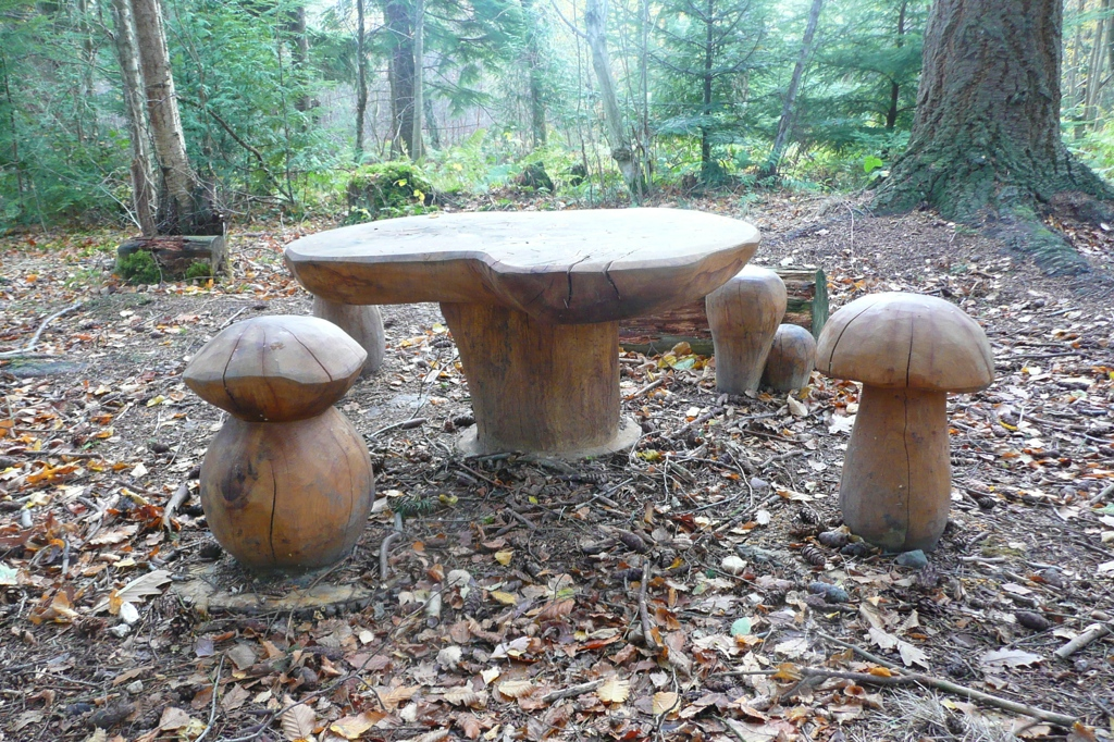 forest trail toadstools and wooden table wildchild designs