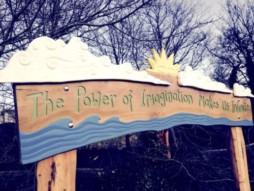hand carved and painted entrance sign