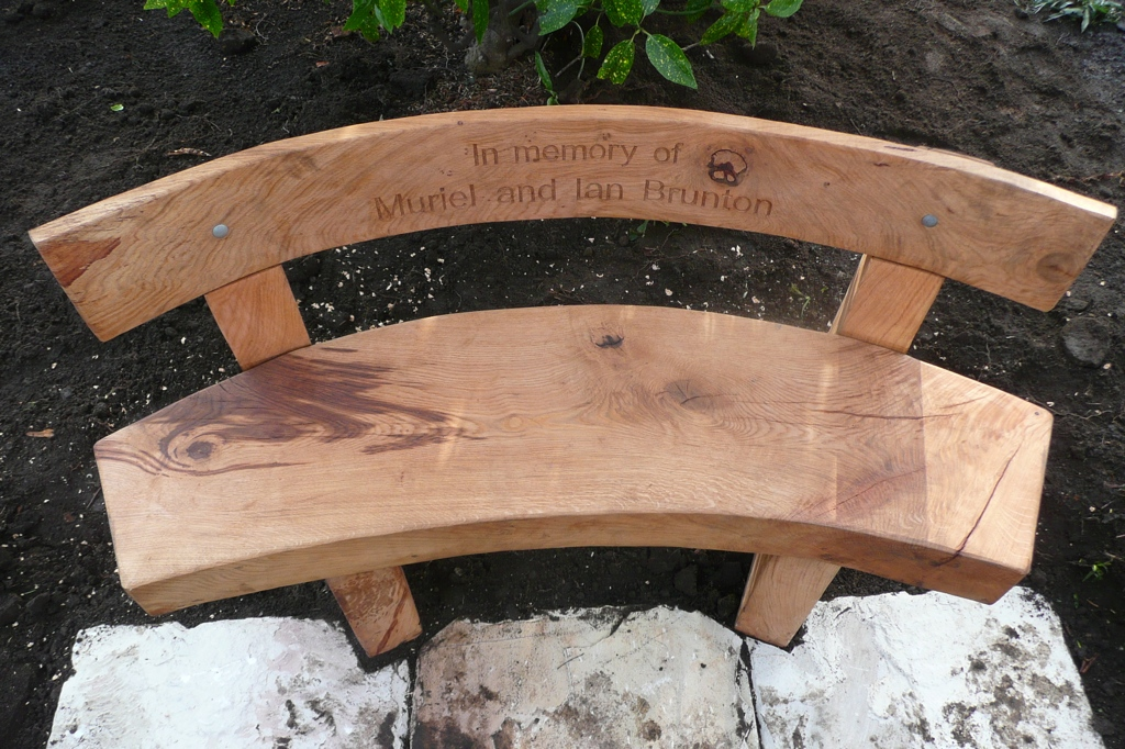 memorial bench hand carved natural wood wildchild designs
