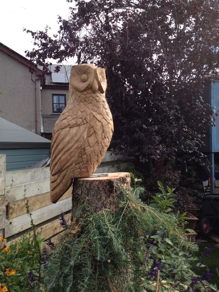 owl on tree bespoke garden sculpture wildchild designs