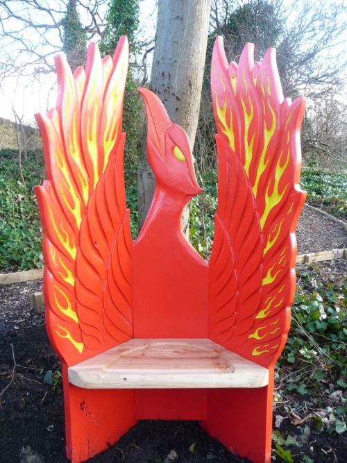pheonix storytelling seat hand carved and painted