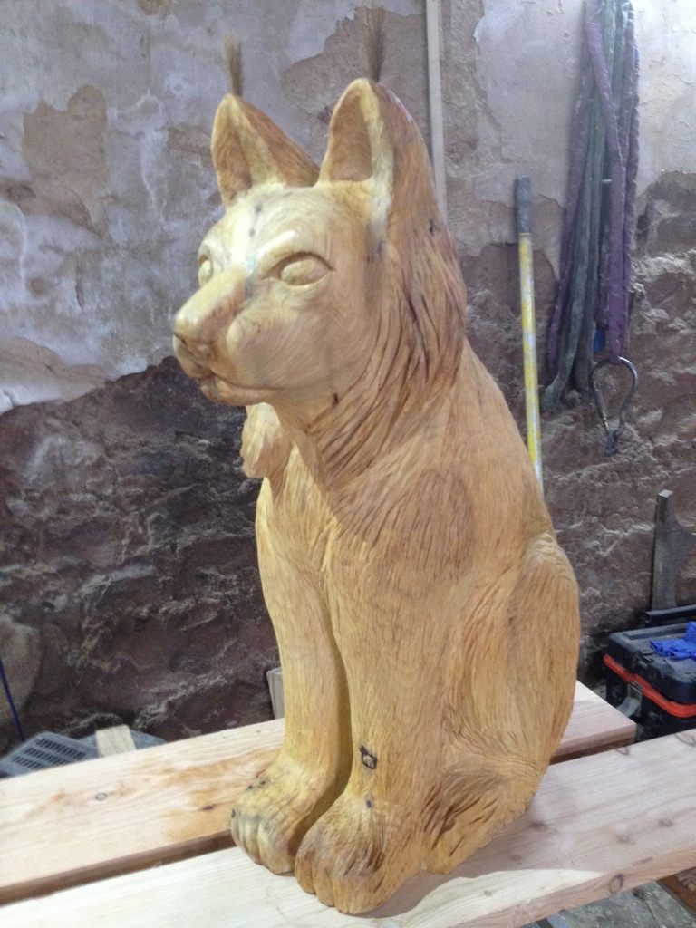 wolf hand carved wooden sculpture robin wood